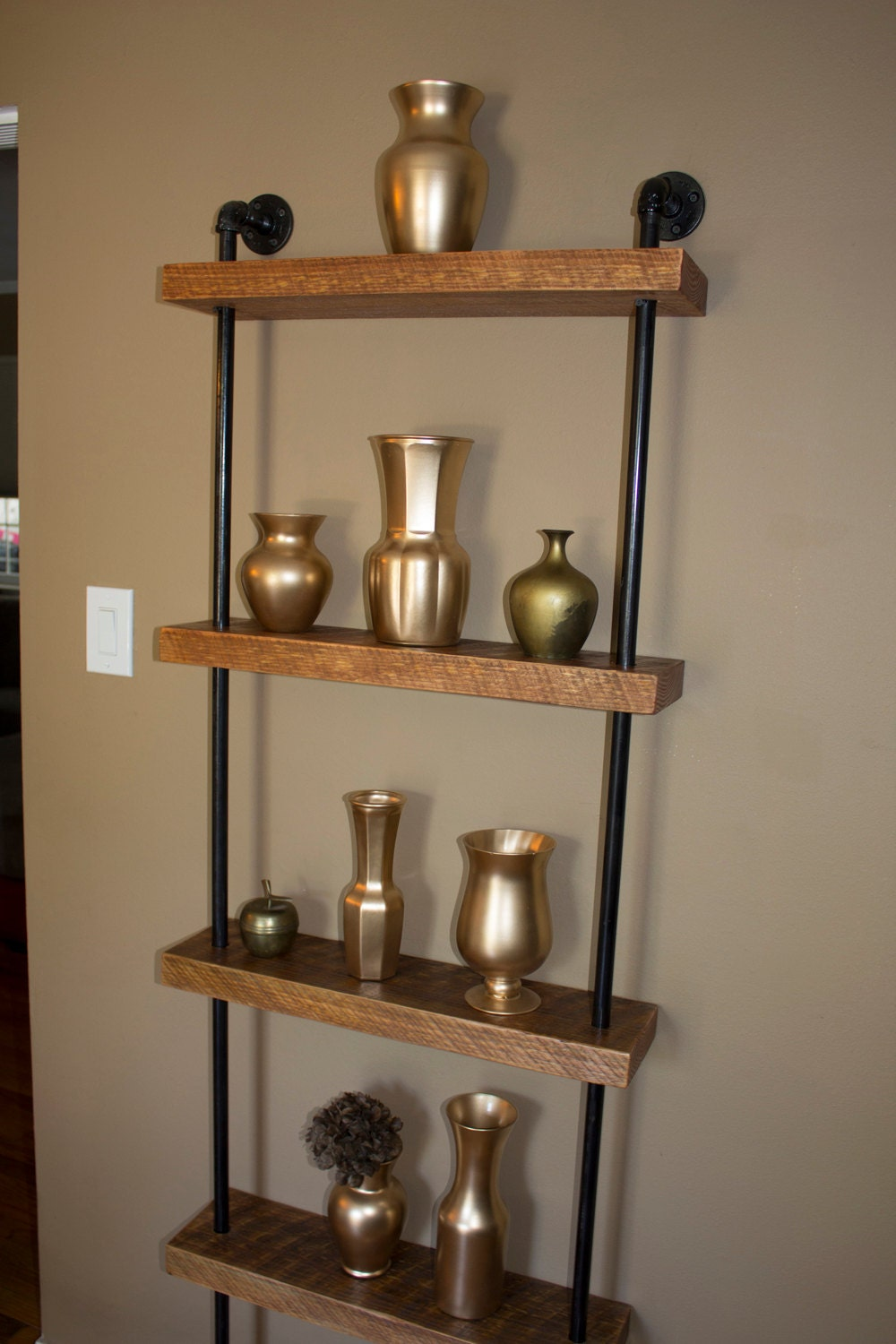 industrial wall unit pipe shelving unit by reclaimedwoodusa. Black Bedroom Furniture Sets. Home Design Ideas