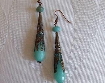 Earrings drop semi-precious jade