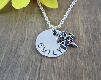 Personalized Registered Nurse Necklace - Handstamped Name Necklace - Nurse Gift - RN Necklace - Nurses Day Gift-Nursing School Graduate Gift