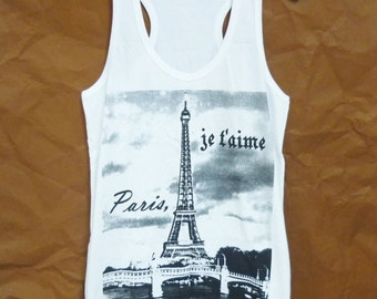 Singlet Womens summer tops Eiffel tower Paris tank top White cotton clothing size S M L XL racerback tank tops/ tshirt/ fitness clothes