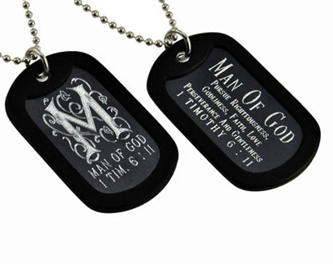 "Dog Tag ""Man of God"" Monogram Double Sided Engraved Necklace"