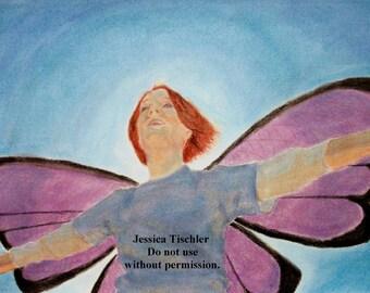 Purple Wings Fairy Redhead Drawing
