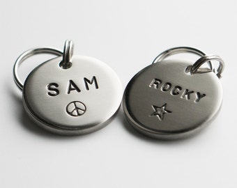 Dog Tag / Pet ID Tag, Round Shaped Tag -Silver-, Customized, Personalized, Hand Stamped