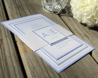 SAMPLE - Layered Wedding Invitation, Purple and Grey Wedding Invitation, Modern Initials Wedding Invitations, Belly band, Custom Invitation