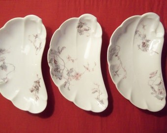 Antique Haviland Bone Dishes. Set of 3. Circa 1879-1898