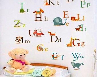 Nursery Wall Decals, Alphabet Wall Decals,  Nursery DIY  Wall Stickers,  Children's Room Alphabet Wall Decals