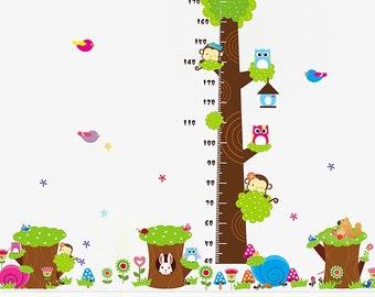 Nursery XL Wall Decal, Nursery Monkey, Owl Growth Chart Wall Decal, Nursery Wall Decor, Nursery Animal Wall Sticker