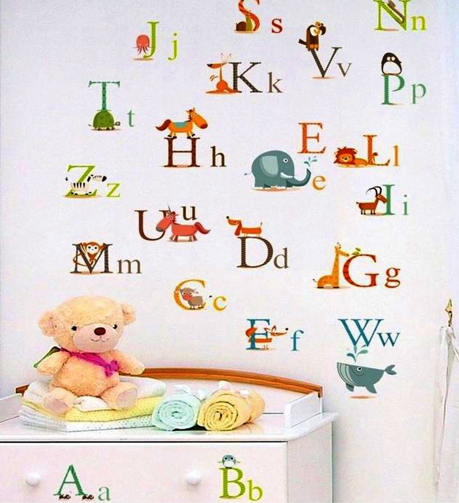 Nursery wall decals alphabet wall decals nursery diy wall for Alphabet mural nursery