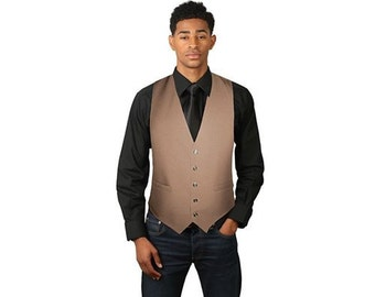 Men's Tan adjustable full back dress vest