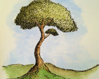 Small Whimsical Tree Watercolor Painting