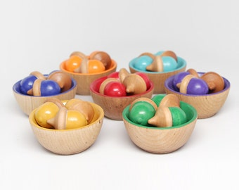 Color Sorting Toy (21 Acorns  7 Bowls) for Children / Kids Wooden Eco Friendly Handmade Toy / Educational Toy / Montessori Toy / Waldorf Toy