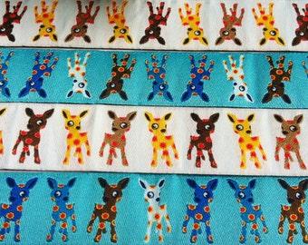 1m woven ribbon: deer kids