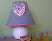 "Lamp ""Happy Owl"", Home Decoration, Kids Lamp, Small Lamp, Nursery Decor, Table Lamp, Bedside Lamp, Denim Lampshade, Patch Work, Owl Decor"