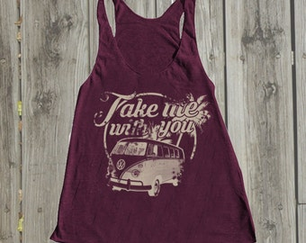 Gypsy clothing Beach tank top Festival clothing Vintage Graphic tees for women. Summer tops Boho top Beach cover up Gypsy top Volkswagen tee