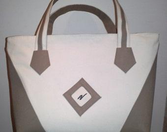 Handbag white and Brown.