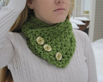 Handmade Scarf- Cowl Scarf-Scarf with Buttons-Handmade Scarf with Buttons-Green Scarf- Winter Scarf- Warm Scarf- Neck Scarf
