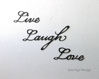 Live laugh love metal wall sign, Home wall decoration, bedroom decor and wall art, inspirational art quotes