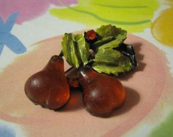 Vintage Double Pears and Green Enamel Leaves Brooch