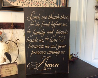 Primitve distressed Prayer ready to hang in kitchen or dining room.