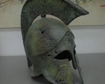 Bronze Helmet freestanding Ancient Greek aged helmet with owl carvings
