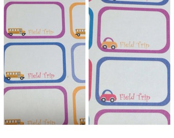 Half boxes Field Trip stickers -  for your EC planner - set of 16
