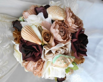 Silk Bridal bouquet beach theme porcelain  seashells and  burlap