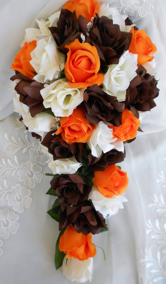 Cascade wedding bridal bouquet orange, ivory, and brown 2pc