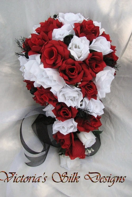 SIlk Cascade Wedding Bouquet Red Black And White