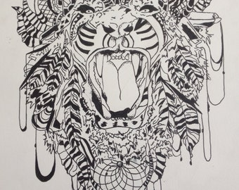 Tiger Abstract Ink Drawing