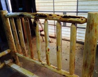 Handmade hand hewn rustic log pine bed