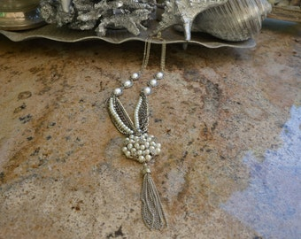 Pearl, Rhinestone and Silver Multi Chain Necklace with Pearl Tassel Pendant