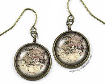World map earrings · Gift for her · Gift for him · Handmade · Map Jewelry · personalized locket · Gift for traveller · Travel gift · gift