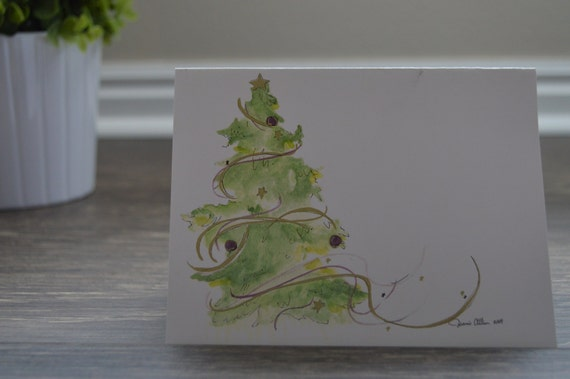 Set of 12 hand painted watercolor christmas cards by ldshome for Painted christmas cards