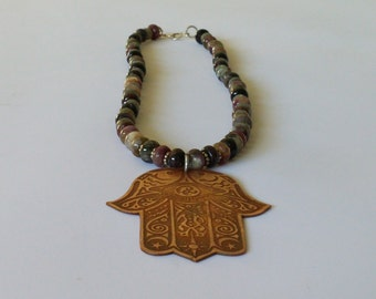 Handcrafted etched copper Hand of Fatima, Hamsa beaded necklace.
