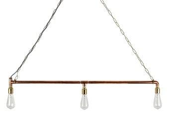 Copper Industrial Ceiling Hanging Pipe Light E27 Bar Kitchen Light Edison