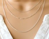 Sterling silver chain necklace, layered necklace, dainty necklace, rolo chain necklace, simple necklace, chain only necklace, trace chain