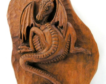 Dragons with Celtic Warrior Wood carving, Handmade Woodcarving, 28,7 x 7,8 in.