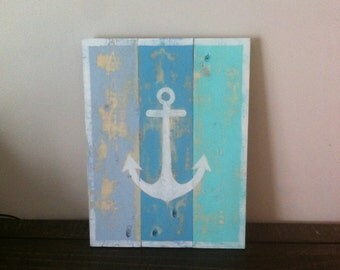 Distressed Anchor Pallet Sign in Coastal Blues