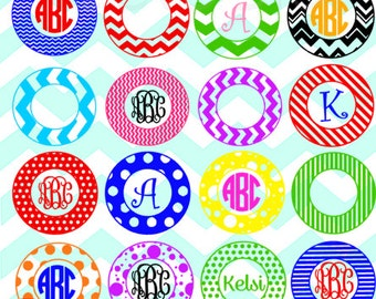Chevron, Stripes, & Dots circle monogram frames SVG and studio files for Cricut, Silhouette, Vinyl Cutters and Screen Printing