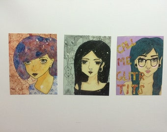 Girls Trio Postcard Set