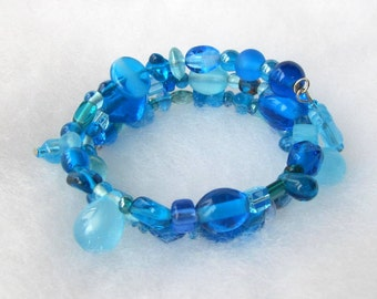 Summer Blues Memory Wire Bracelet