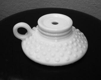 Vintage Hobnail Milk Glass Lamp Base with Handle, Hobnail Milk Glass Candle Base