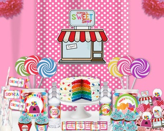 Sweet Shop CandyLand Lollipop Birthday Party Printable  Decorations Supplies - Super Set Party Kit PK-2