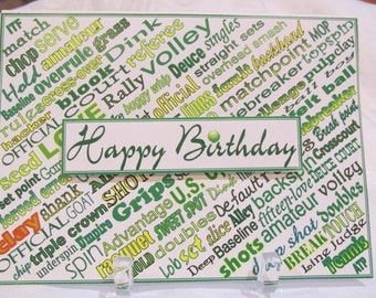 Tennis terms happy birthday card (one-of-a-KIND)