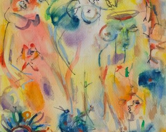 Irving Stettner Original Watercolor Abstract Expressionist Painting, 1983. Flowers and figures.