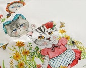 Cat Fabric Linen Cotton Fabric Bag Pillow Cover Curtain Kids Fabric- Farm Cat One Panel 40x140cm  c20