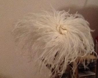 Cream Ostritch feather fascinator