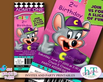Chuck E Cheese Ticket Style Invitation. Birthday Printable Invitation. Digital. Print it yourself