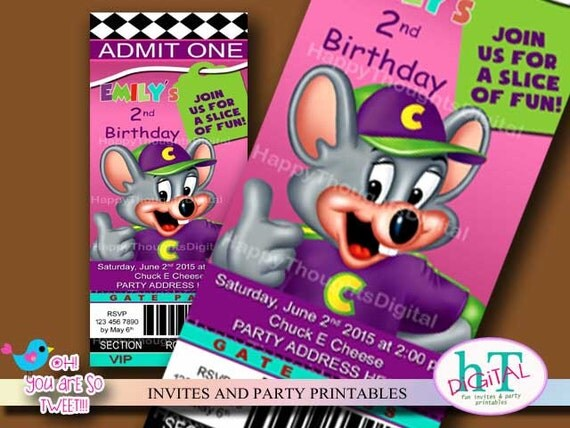 chuck e cheese ticket style invitation. birthday printable, Birthday invitations