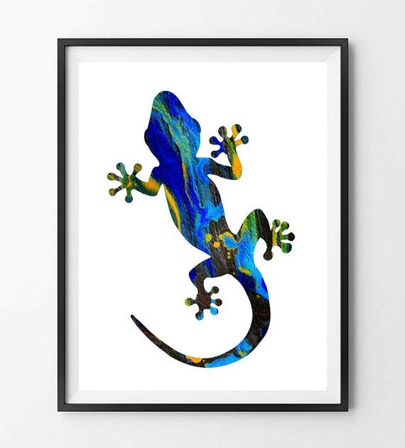 40 off lizard watercolor print gecko 2 wall art for Gecko wall art